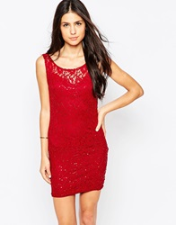 Jasmine Lace Dress With Sequin Detail Red