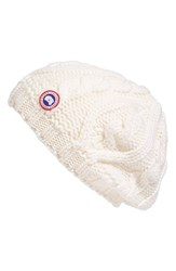 Canada Goose Women's Cable Knit Merino Wool Beanie White