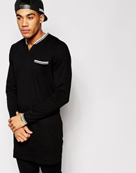 Asos Super Longline Long Sleeve T Shirt With Notch Neck And Tipped Rib Black