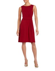 Adrianna Papell Pleated Waist Sleeveless Fit And Flare Dress Matador Red