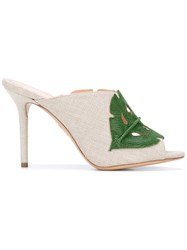 Charlotte Olympia Leaf Patch Heeled Mules Women Cotton Leather 37 Nude Neutrals