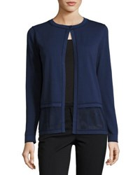 Lafayette 148 New York Sheer Border Knit Cardigan Navy
