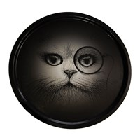 Rory Dobner Supersize Cat With Monocle Circular Tray Black