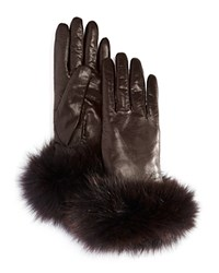 Bloomingdale's Fox Fur Cuffed Leather Gloves 100 Exclusive Brown