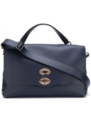Zanellato Flap Closure Tote Bag Blue