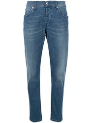 Dondup Faded Straight Leg Jeans Cotton Polyester Spandex Elastane Blue