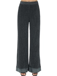 M Missoni Flared Lurex Viscose Knit Pants Gunmetal