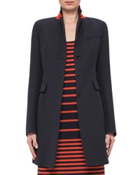 Akris Punto Fitted Three Button Colorblock Wool Coat Navy