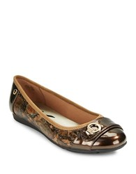 Anne Klein Azi Cap Toe Flats Bronze Multi Colored