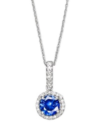 Effy Collection Velvet Bleu By Effy Diffused Sapphire 1 Ct. T.W. And Diamond 1 10 Ct. T.W. Pendant Necklace In 14K White Gold Blue