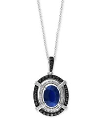 Effy Collection Royal Bleu By Effy Sapphire 1 3 8 Ct. T.W. And Diamond 1 3 Ct. T.W. Pendant Necklace In 14K White Gold Blue