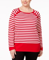 Karen Scott Plus Size Striped Sweater Only At Macy's New Red Amore Combo