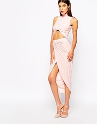 Club L Ruched Pencil Skirt With Wrap Front Nudepink