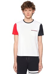 Thom Browne Color Block Cotton Jersey T Shirt