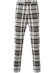 Thom Browne Woven Check Trousers Nude Neutrals