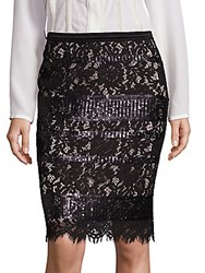 Elie Tahari Violet Sequin Lace Pencil Skirt Black
