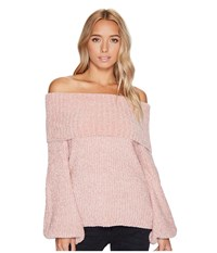 Brigitte Bailey Gisselle Ribbed Off The Shoulder Sweater Dusty Pink Women's Sweater