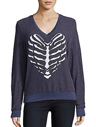 Wildfox Couture Skeletal Heart Long Sleeve Knit Top Opium Blue
