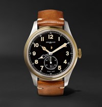 Montblanc 1858 Automatic 44Mm Stainless Steel And Leather Watch Tan