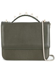 Salar Studded Handle Satchel Bag Green