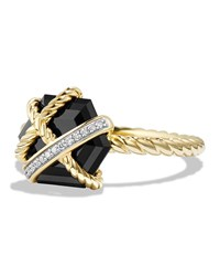David Yurman 10Mm Petite Cable Wrap Onyx Ring Gold