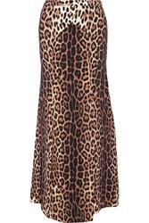 Boutique Moschino Leopard Print Crepe De Chine Maxi Skirt
