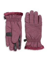 Isotoner Faux Fur Lined Packable Gloves Black Heather