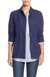 Women's Caslon Linen Blend Utility Jacket Navy Peacoat