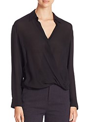 Vince Silk Georgette Draped Surplice Blouse Black