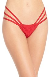 Women's For Love And Lemons 'Ruby' Lace Detail Thong Scarlet