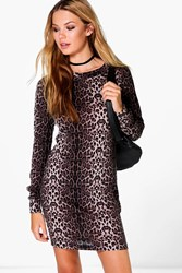 Boohoo Leopard Brushed Knit Bodycon Dress Grey