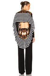 Givenchy Optical Print Silk Georgette Top In Brown Abstract Brown Abstract