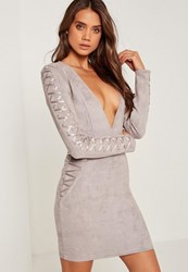 Missguided Petite Faux Suede Long Sleeve Bodycon Dress Grey Taupe