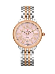 Michele Serein Diamond Pink Mother Of Pearl 18K Rose Goldplated And Stainless Steel Bracelet Watch Rose Gold Silver
