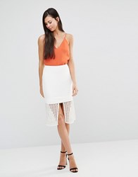 Finders Keepers Stand Still Lattic Detail Skirt Lattice White