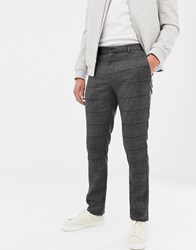 Kiomi Slim Fit Check Trousers In Dark Grey