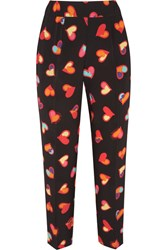 Boutique Moschino Cropped Printed Silk Crepe De Chine Tapered Pants Black