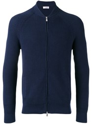 Brunello Cucinelli Ribbed Knit Zipped Cardigan Blue