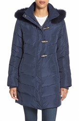 Women's Ellen Tracy Genuine Fox Fur Trim Toggle Down Coat Navy