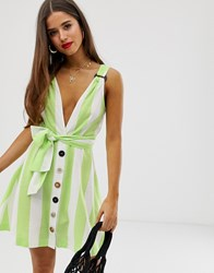 Moon River Green Candystripe Mini Dress