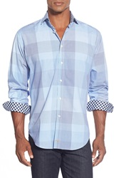 Thomas Dean Regular Fit Plaid Sport Shirt Blue
