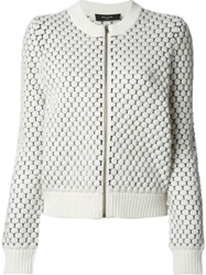 Paul Smith Black Label Zipped Honey Comb Knit Cardigan White