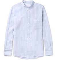 Richard James Slim Fit Grandad Collar Striped Linen Shirt Blue