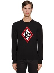 Dolce And Gabbana Dg Cashmere Intarsia Knit Sweater Black