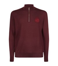 Billionaire Embroidered Logo Half Zip Sweater Male Plum