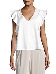 Saks Fifth Avenue Flutter Sleeve Blouse White