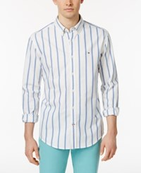 Tommy Hilfiger Men's Nathan Striped Cotton Oxford Shirt Nautical Blue