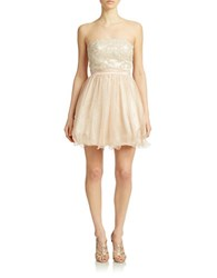 Hailey Logan Strapless Glitter And Lace Dress Oyster