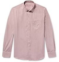 Officine Generale Lipp Slim Fit Garment Dyed Brushed Cotton Twill Shirt Pink