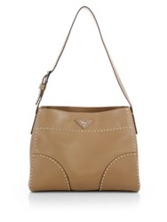 Prada City Calf Topstitched Hobo Bag Nero Black Caramello Caramel